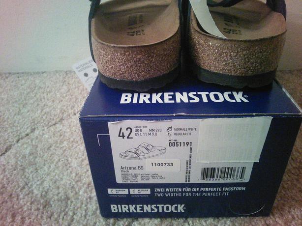 NEW Birkenstock Arizona Black Unisex - Men Size 9 or Ladies Size 11
