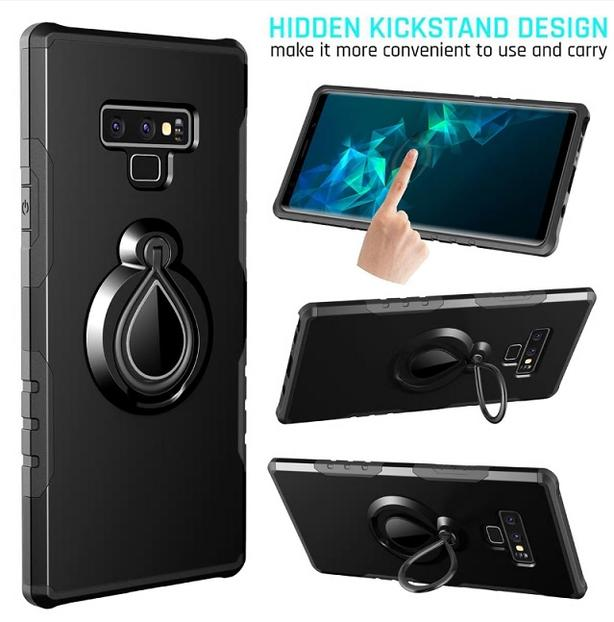 Luxury Magnetic Fold In Ring Stand Case For Samsung Galaxy Note 9