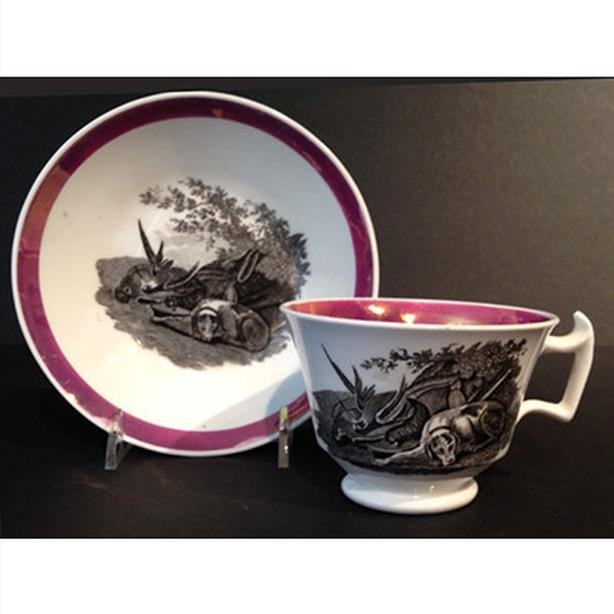 Antique English transfer printed cup and saucer with hunt scene