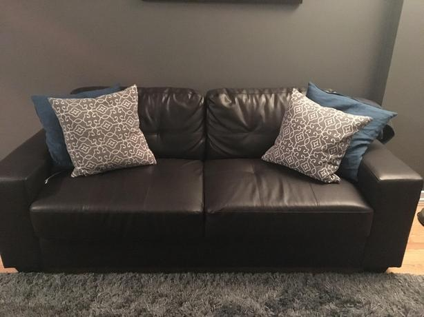 Dark Brown Leather Couch (1 YR OLD)