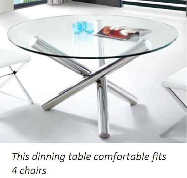 Round Glass & Silver Dinning Table (Brand New)