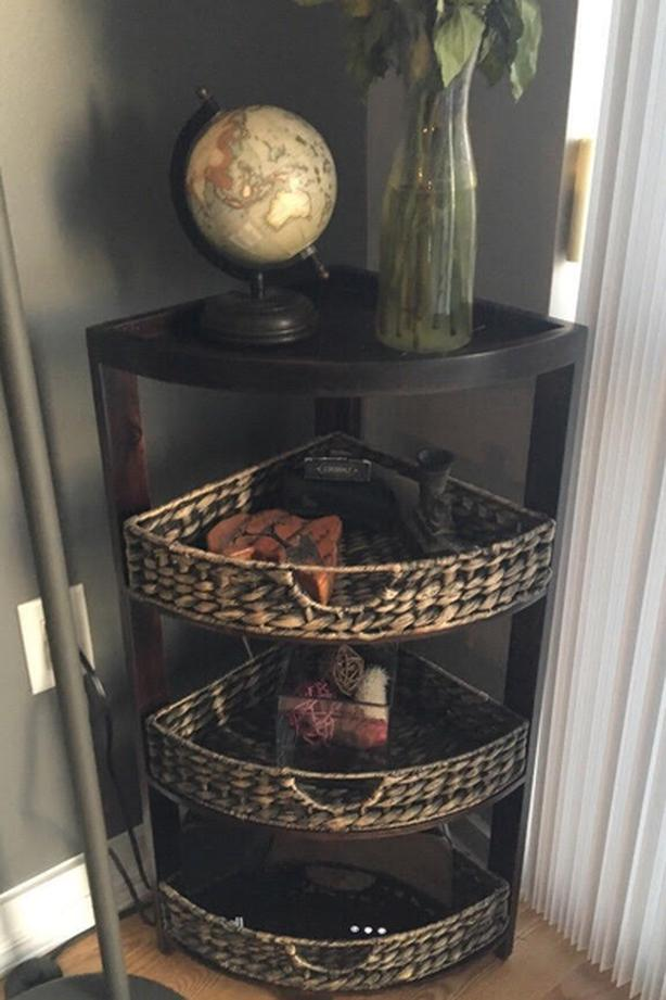 Wooden Shelving Stand with Wooven Baskets