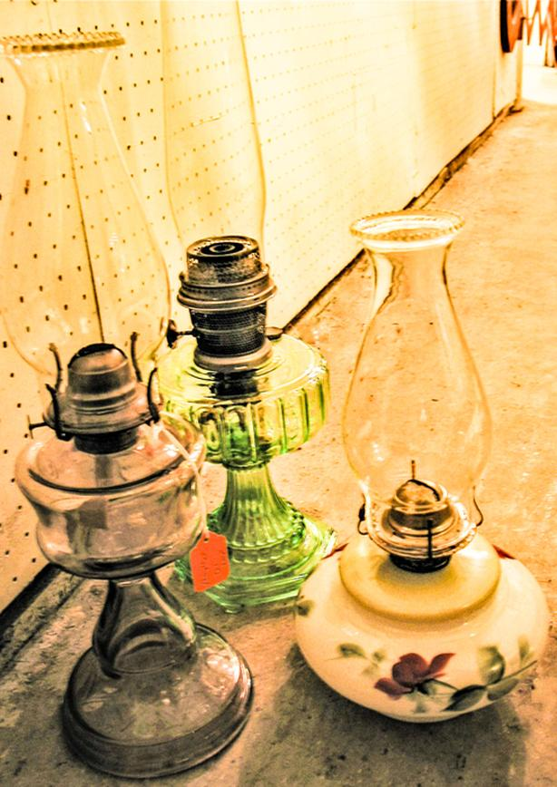 early oil lamps & other vintage decor