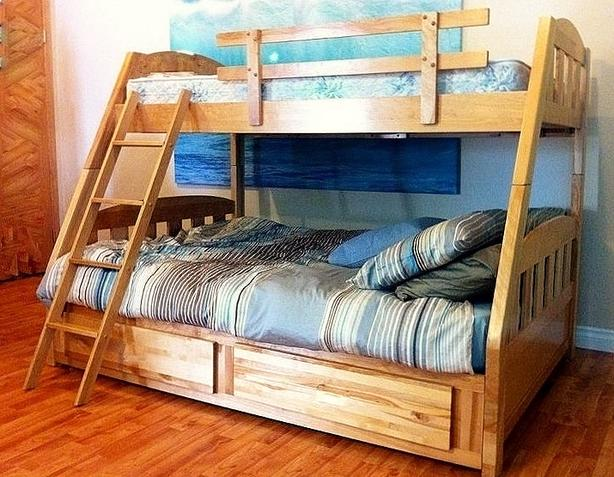 SOLID QUALITY WOOD BUNK BED SINGLE OVER DOUBLE
