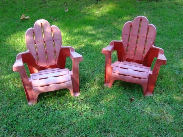 Two Childrens Adirondack Stacking Chairs