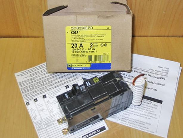 SQUARE D QOB 20 Amp, 2 Pole, 24 EPD GFCI Circuit Breaker ~ New!