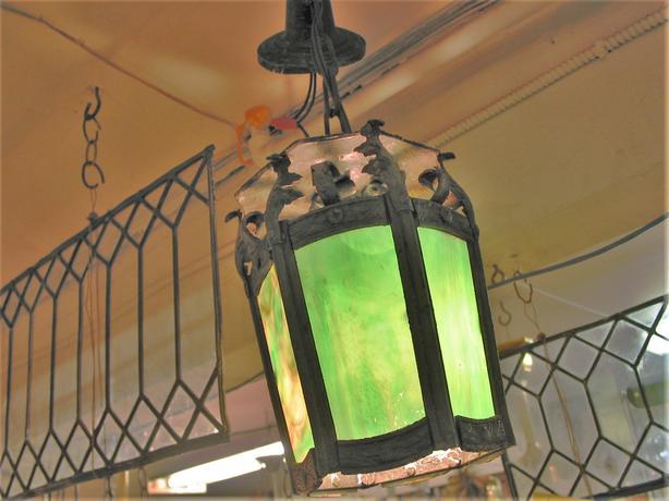 vintage green slag glass lantern
