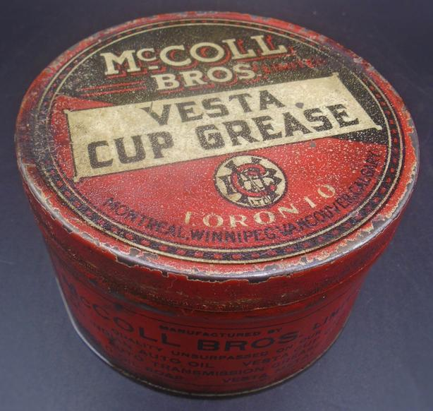ULTRA RARE 1920's McCOLL BROS VESTA CUP GREASE CAN (RED INDIAN)