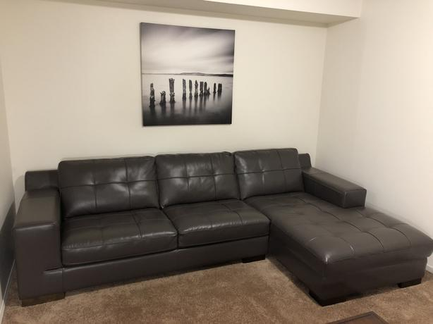 Grey leather Couch/sectional