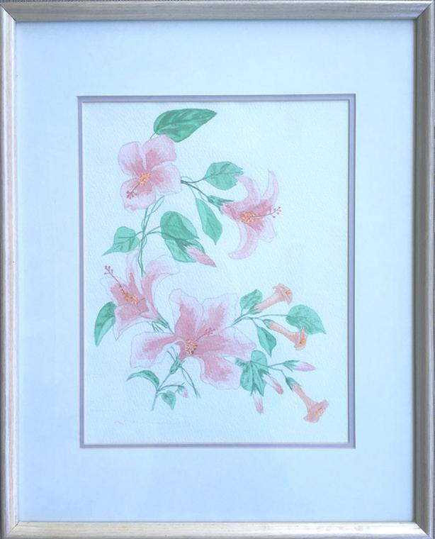 Original Watercolor Painting of Flowers Double Matting, Wood Frame & Under Glass