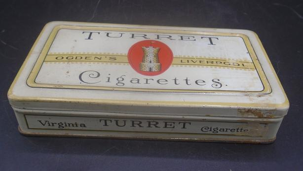 VINTAGE 1920's TURRET CIGARETTES TIN (50 CIGARETTES SIZE)