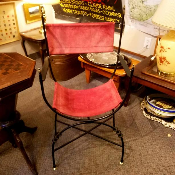 Roman Revival Iron & Red Suede Chair