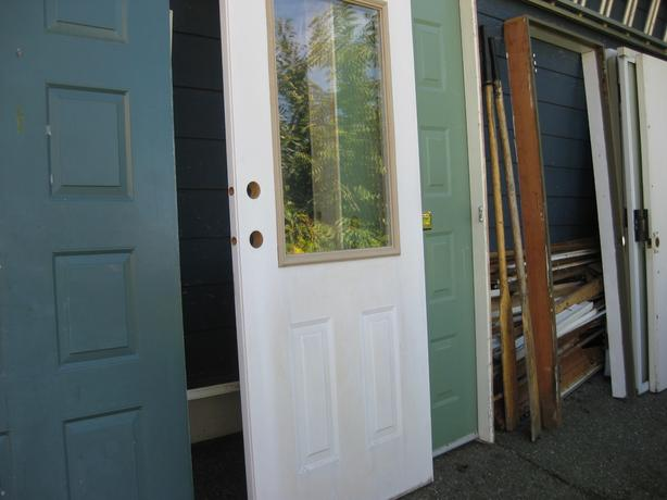 Exterior steel door with window