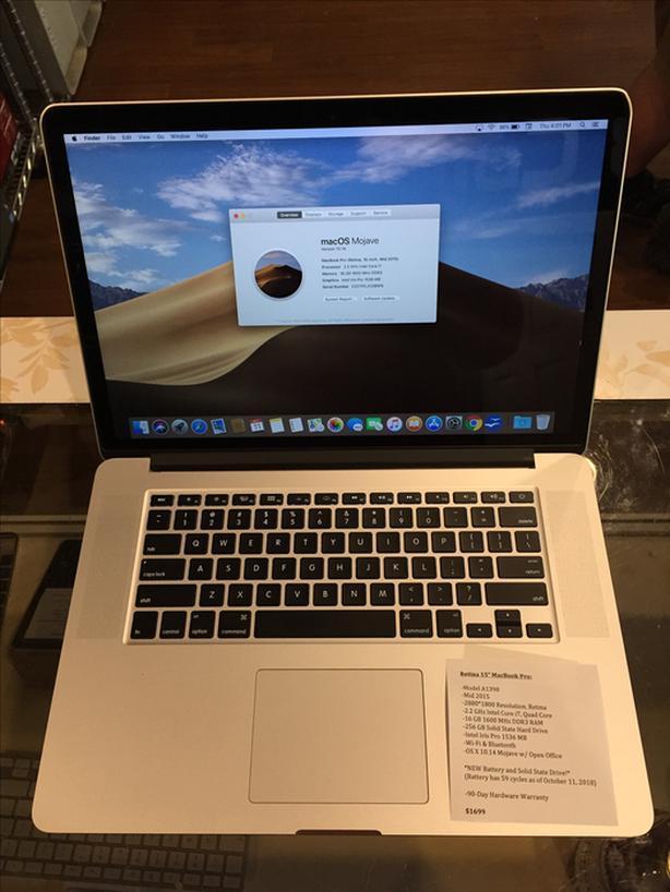 """Retina 15"""" MacBook Pro 2.2 GHz i7 Quad 16 GB RAM 256 GB SSD w/ Warranty"""