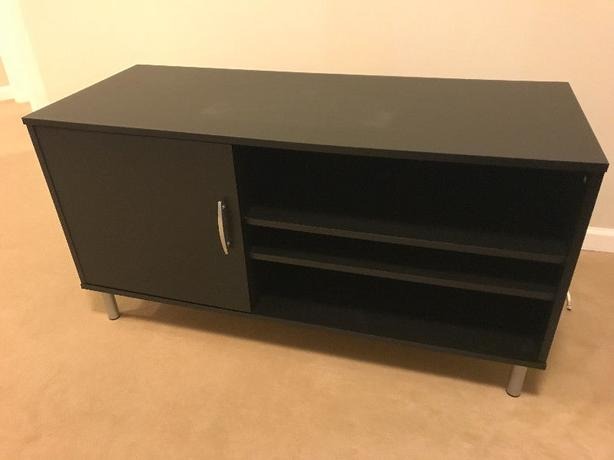 TV Stand with Door (black) - Excellent Condition
