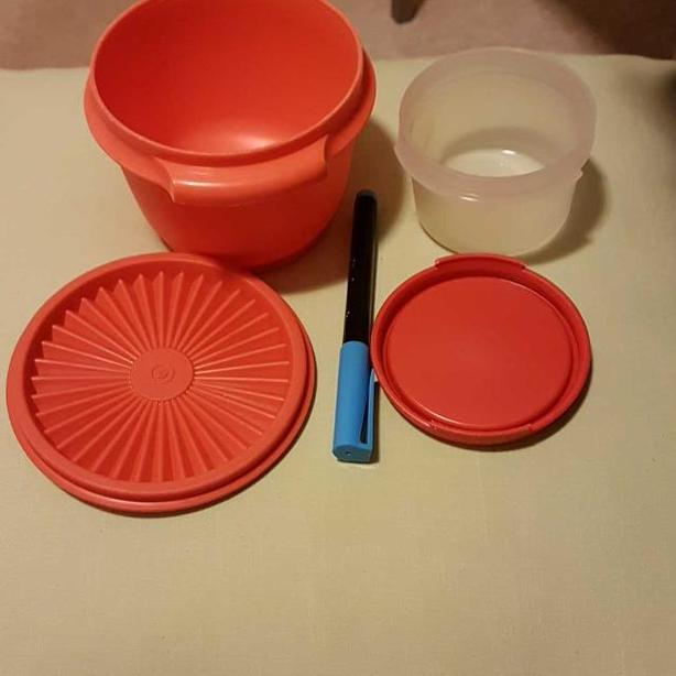 TWO SMALL TUPPERWARE CONTAINERS.