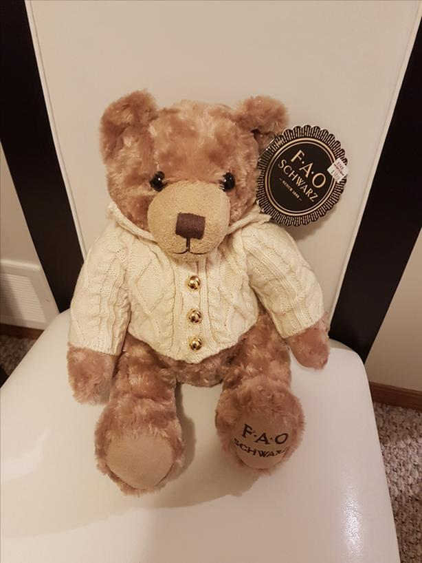 NEW LARGE (tag - $35 plus tax on) FAO Schwartz bear with sweater that opens