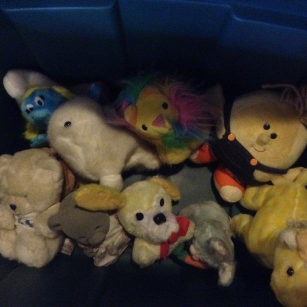Assorted stuffed toys