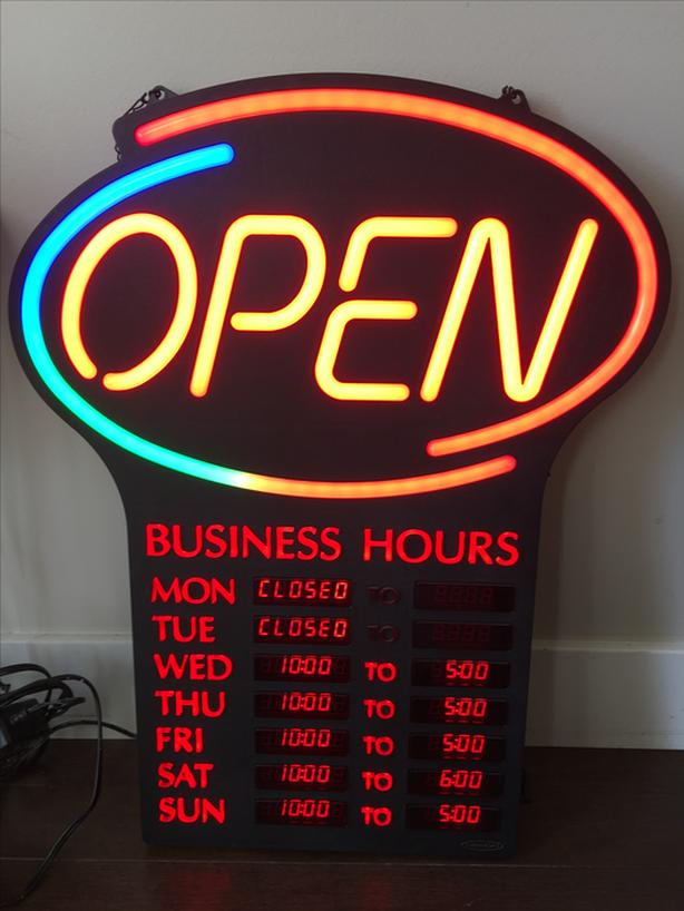 LED Open with Business Hours Sign