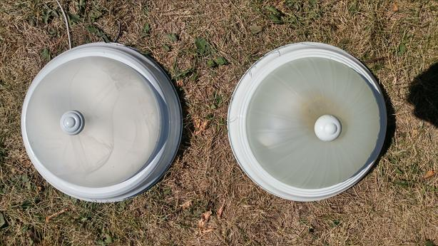 Two Glass Dome Lights with White Rim.