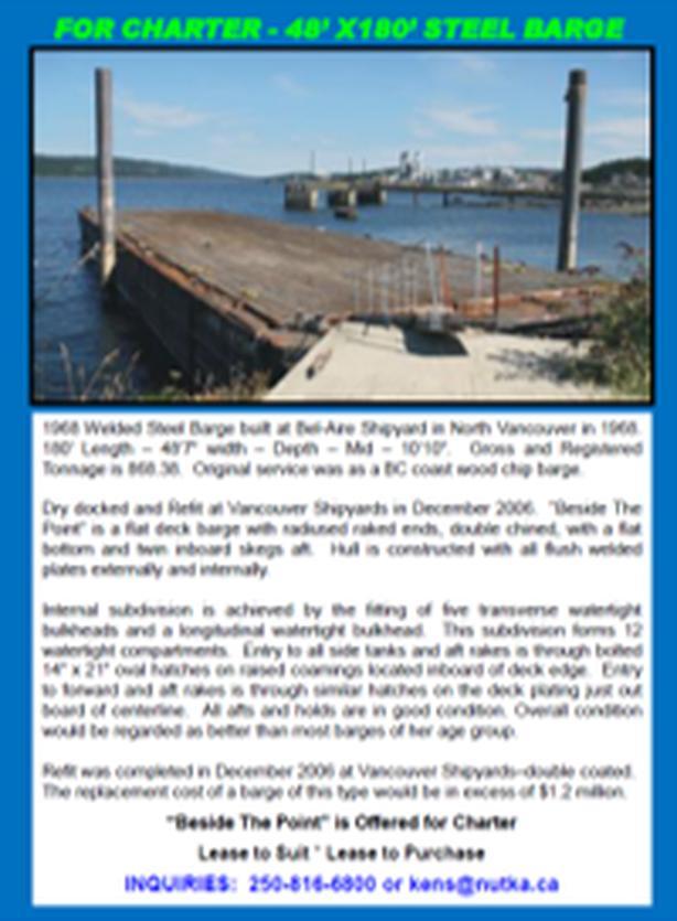 48' X 180' Flat Deck Steel Barge