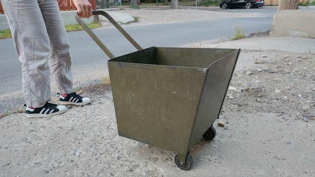 Metal Wheeled Cart- for rubbish, hot metal, wood