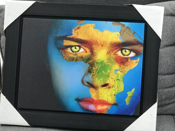 African Continent Face Paint - Framed Print