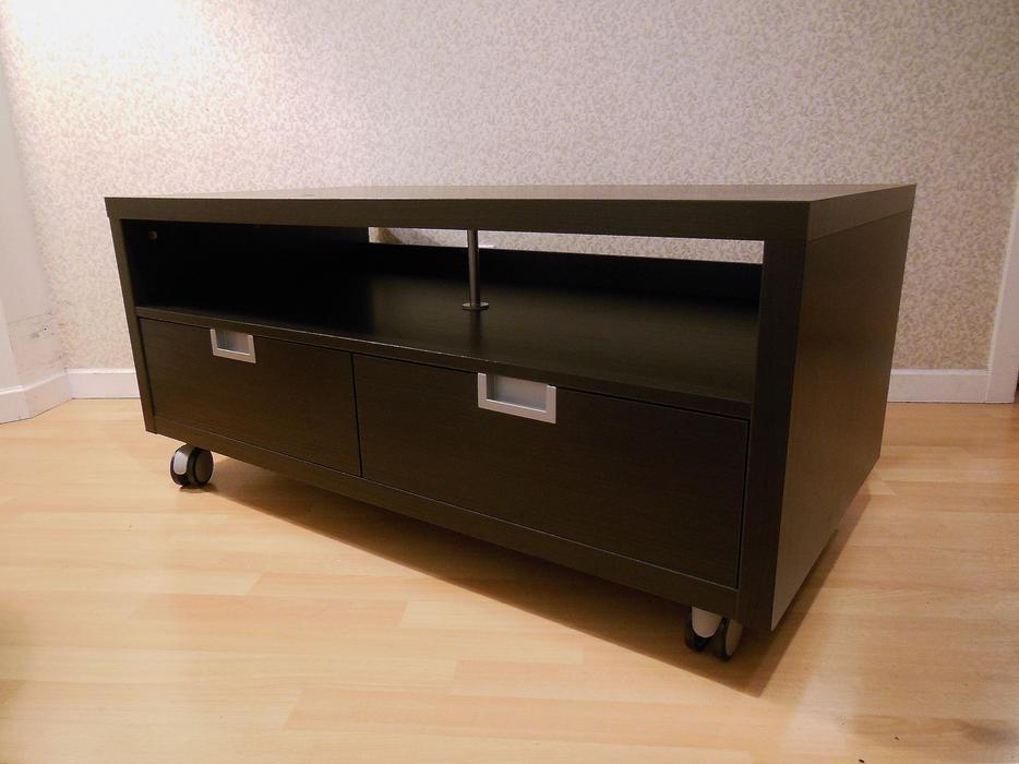Ikea Besta Jagra Tv Bench Stand On Castors Black Brown Vancouver