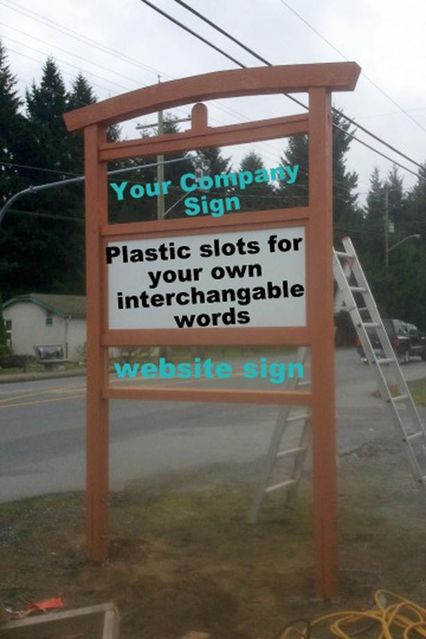 Tall Outdoor Business Sign with text letters