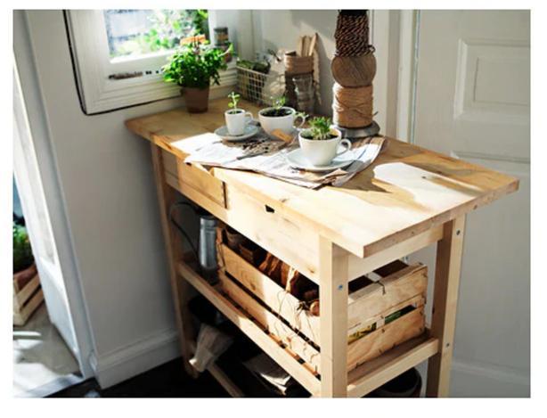 FORHOJA Kitchen Cart/Island In Birch