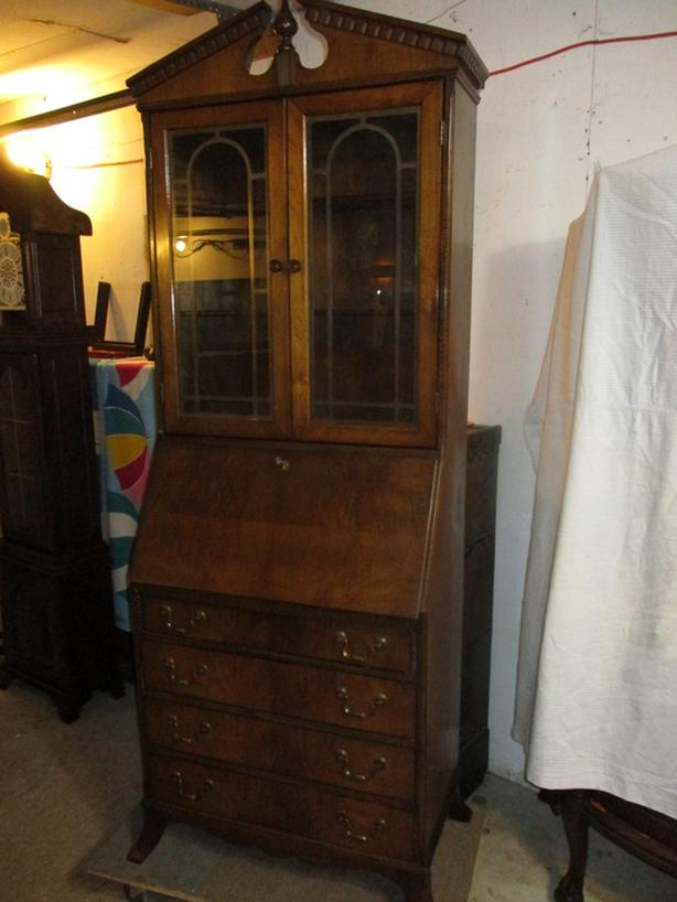 ANTIQUE 1920S WALNUT SECRETARY / DISPLAY CABINET