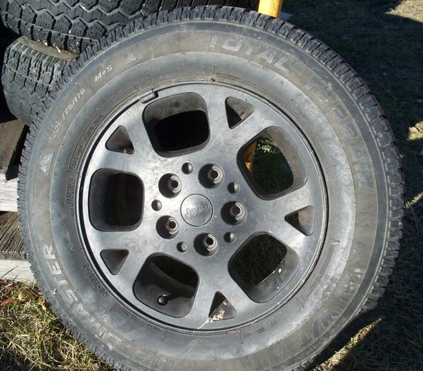 16 inch Motomaster Total Terrain Snow Tires + Jeep Rims