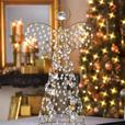 Crystal-Look Beaded Wire Christmas Figural Angel Treetop Centerpiece Set of 2
