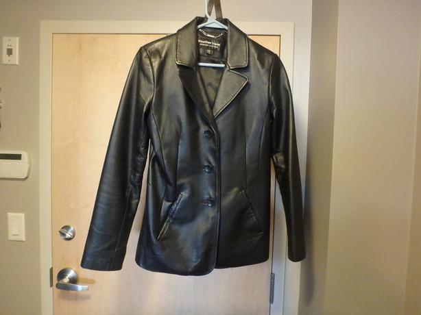 Women's Black Leather Suit Blazer