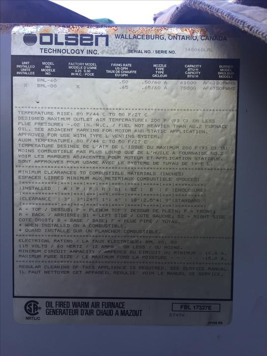 Olsen Forced Air Oil Furnace Malahat  Including Shawnigan