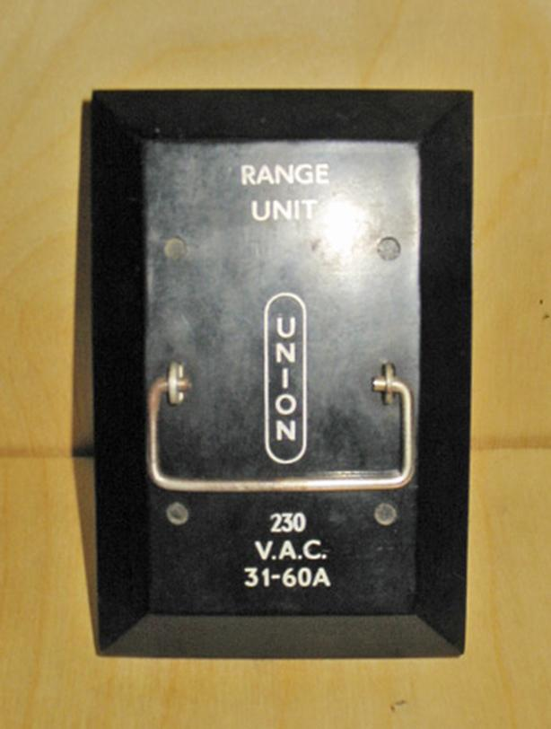 UNION 60 Amp Max, 240 Volt 'Range Unit' Fuse Holder ~ Very Rare!