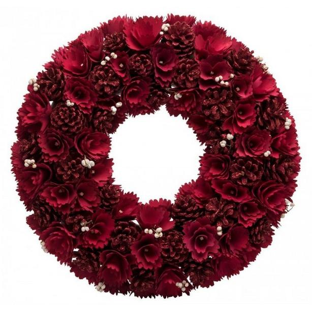Red Rose Faux Flower Hanging Wreath with Pine Cones Set of 2 Brand New