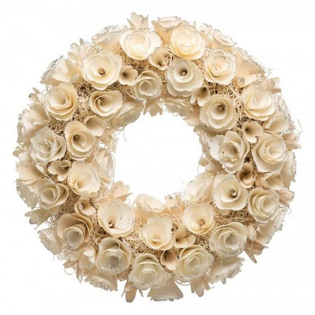 "18"" White Rose Faux Flower Wall Hanging Wreath Brand New"