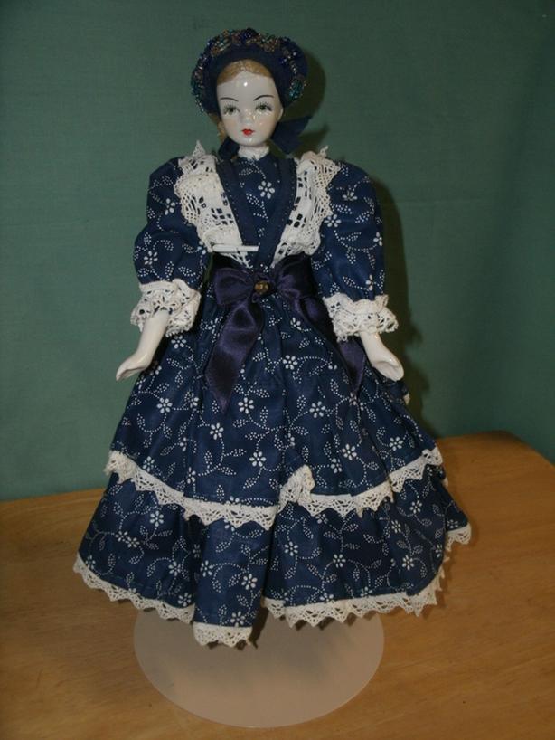 """Vintage 12"""" Porcelain Doll with Blue Dress"""