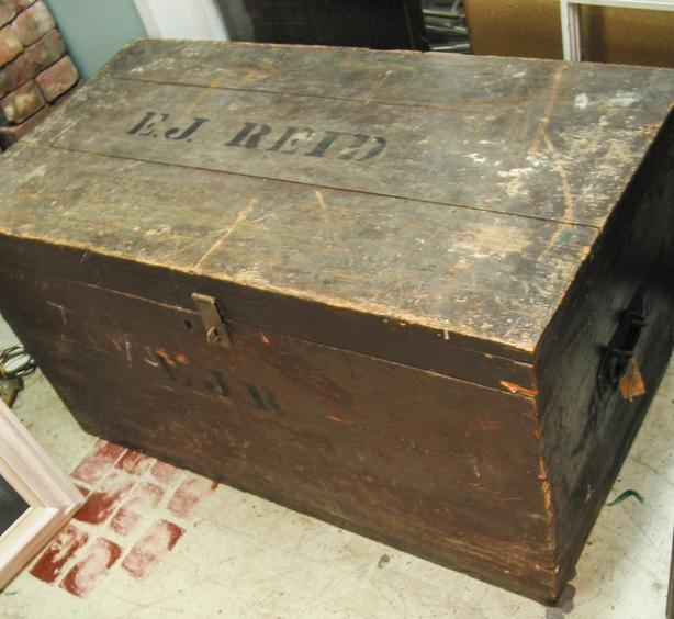 Large rustic wood antique trunk
