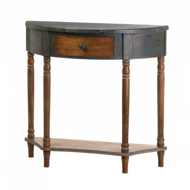 Rustic Antiqued Brown Wood Crescent Shape Hall Entry Table with Drawer & Shelf