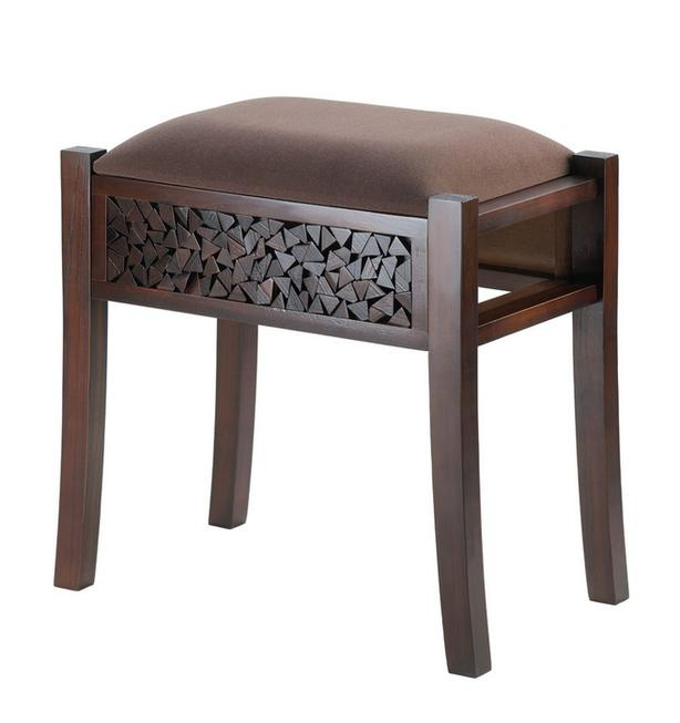 Rectangle Brown Wood Vanity Seat Footstool Carved Detailing Suede-Look Top NEW