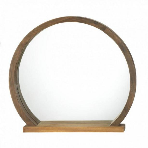Country Chic Round Wood Wall Mirror with Shelf Brand New