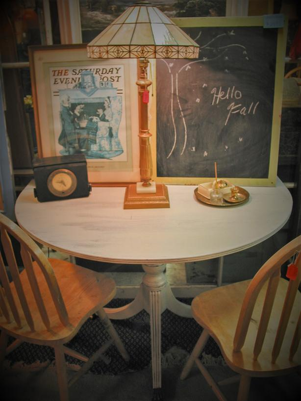 "STORE CLOSING JULY 31 - Vintage painted ""half-round"" wood table"