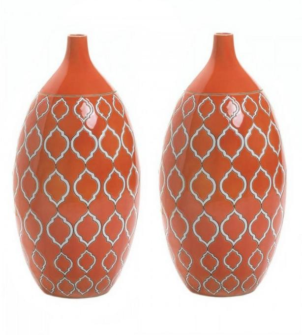 Orange Stoneware Vase Set of 2 Brand New
