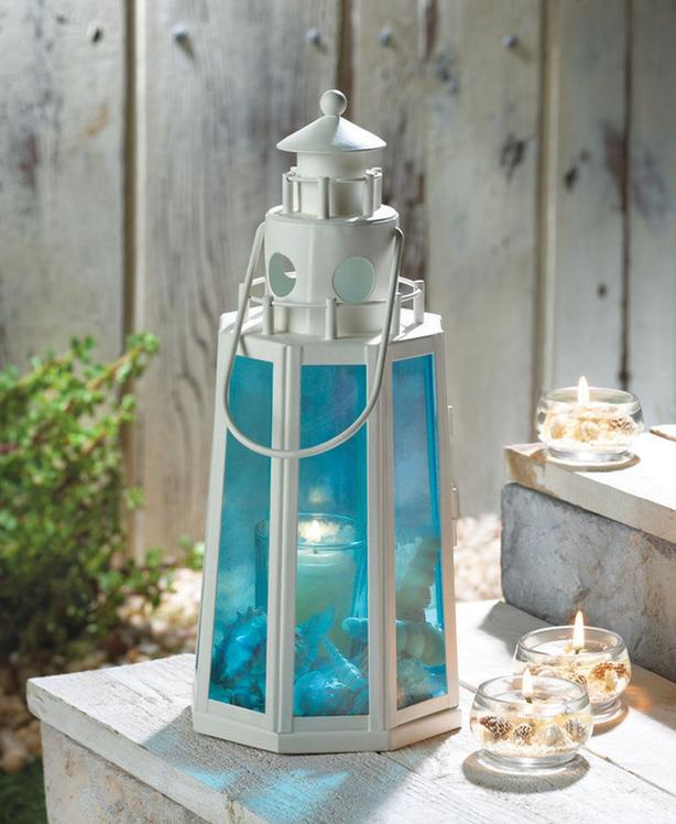 LIGHTHOUSE Candle Lantern Lamp with Blue Glass Panels 3 Lot NEW