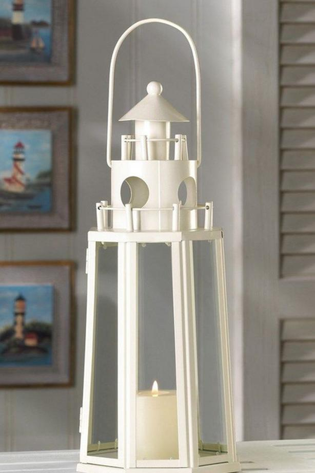 LIGHTHOUSE Candle Lantern Lamp with Clear Glass Panels 4 Lot Ivory