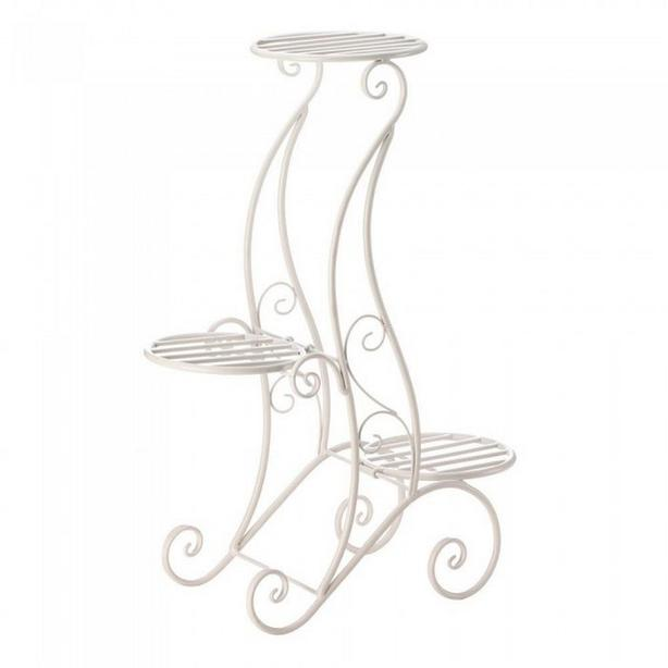 Metal Plant Stand 2 Styles Black White Choice Brand New