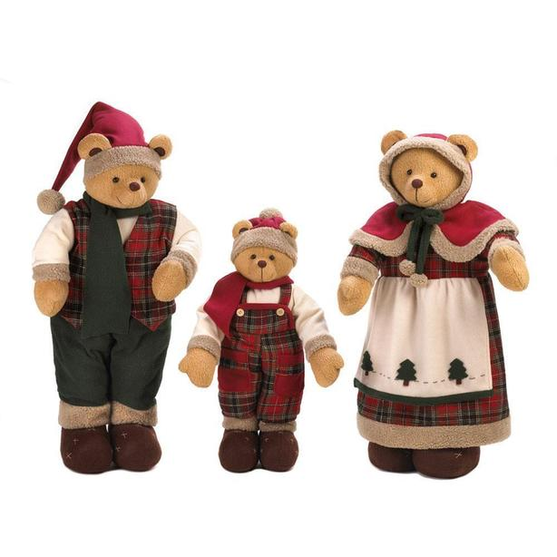 Large Christmas Plush Standup Figurine Bear Family Ornament Set 3PC NEW