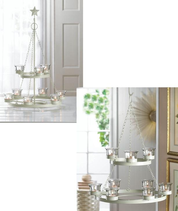 2-Tier Tree-Shaped Candleholder Chandelier Centerpiece & Hanging Bell 2PC
